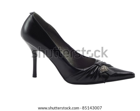 Beautiful  black female shoe on a high heel on a white background