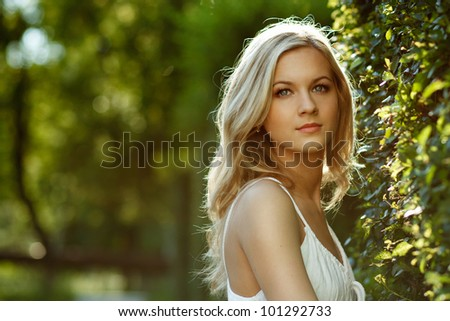 Beautiful Blond Girl With Trees, White Dress