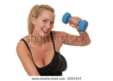 Beautiful blond girl working out with weights