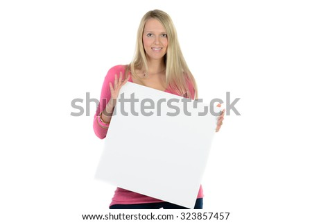 beautiful blond woman holding a blank ad