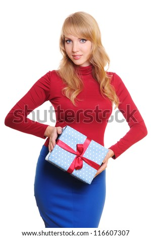 beautiful blonde businesswoman and a gift box. Portrait isolated on white background