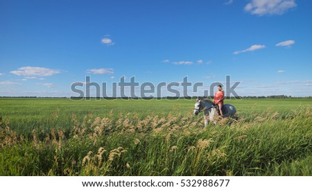 Beautiful blonde girl riding a horse at a countryside. Charming, sexy woman wearing a red dress riding a horse at a green field. Freedom, happiness, summer