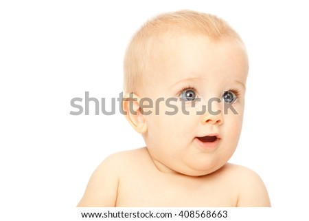 beautiful blonde hair blue eyes baby isolated on white