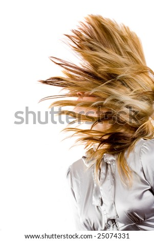 Beautiful blonde woman flipping her hair, isolated on white background