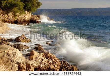 beautiful blue dalmatian coast with sea waves