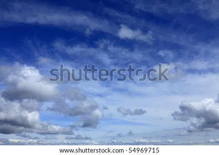 Beautiful blue fluffy cloudy sky in a summer day.