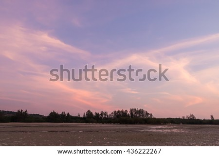 Beautiful blue sunset cloud on the beach