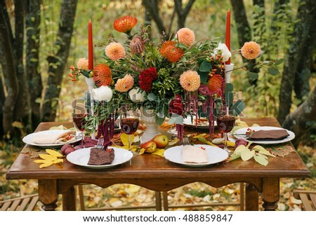 Beautiful bouquet on a holiday table.