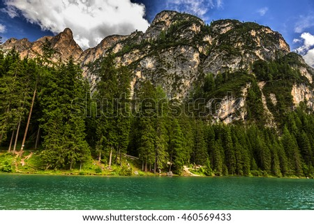 Beautiful Braies Lake on  Dolomite Mountains in North of Italy or South Tirol