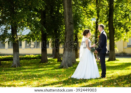 Beautiful bride and groom holding hands in a park on a sunny day