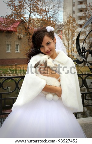 Beautiful bride with rabbit