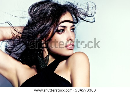 beautiful brunette woman portrait, studio shot