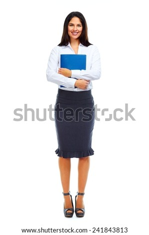 Beautiful business woman isolated on white background