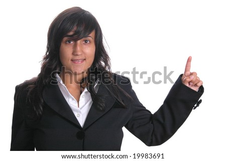 Beautiful business woman pointing her finger isolated on white