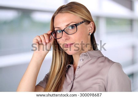 Beautiful Business woman portrait with glasses