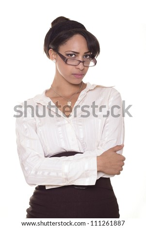 Beautiful business women with glasses is upset.
