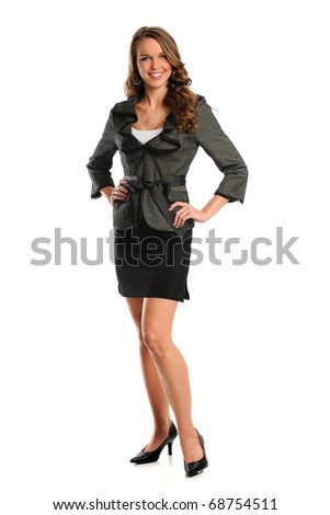 Beautiful businesswoman smiling isolated over white background