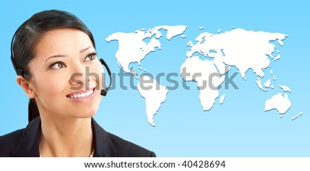 Beautiful  call center operator with headset. Over white background