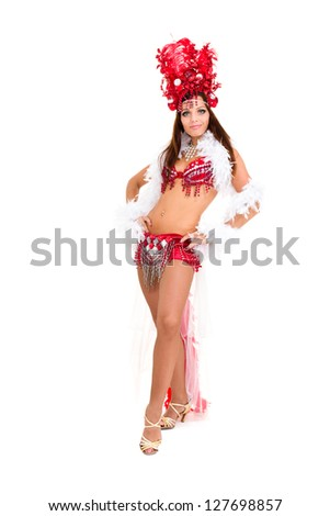 beautiful carnival dancer woman posing against isolated white background