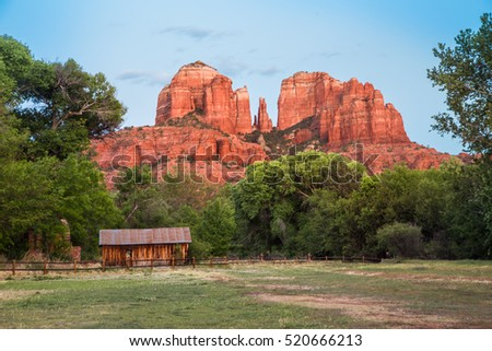 Beautiful Cathedral Rock formation with wood barn at Oak Creek in Sedona Arizona