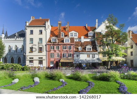 Beautiful central square in old Riga city, Latvia. In 2014, Riga is the European capital of culture