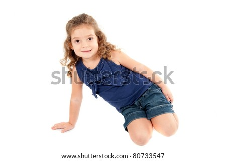 Beautiful Child girl smiling portrait on studio .