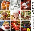 Beautiful christmas collage made from nine photos - stock photo