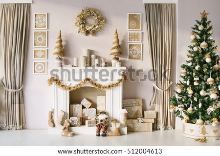 Beautiful Christmas interior decoration for family celebration