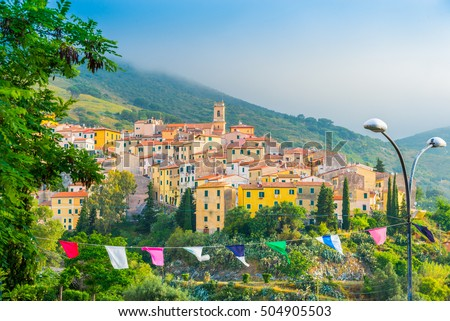 Beautiful cityscape over Rio nell`Elba village, one of the most small townon the Elba island, part of province of Livorno in Tuscany region, Italy