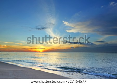 Beautiful color of the sunrise over sea background, ocean in eastern Thailand