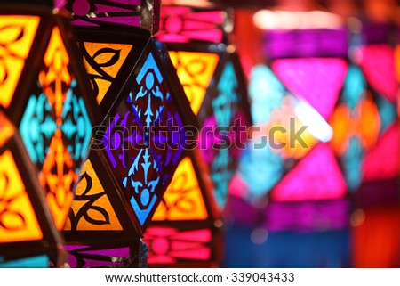Beautiful colorful traditional lanterns for sale in a shop on occasion of Diwali / Christmas festival in India