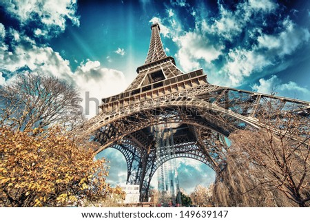 Beautiful colors of Eiffel Tower and Sky of Paris