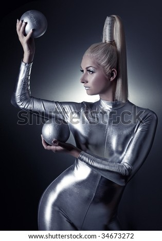 Beautiful cyber woman with silver balls