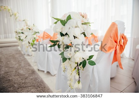 beautiful decor for wedding ceremony or other ivent indoor.