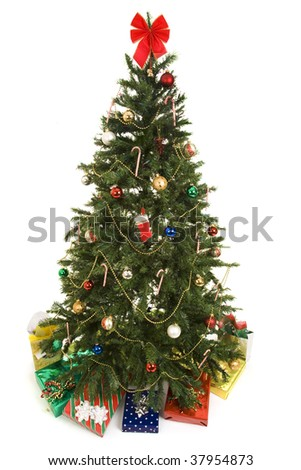 Beautiful decorated Christmas tree with colorful gifts underneath.  Fully isolated on white.