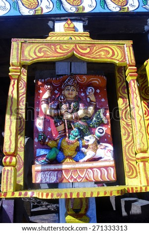 Beautiful decoration has been made to chariots of Lord Jagannath on the occasion of Chariot festival on July 11, 2013 in Puri, India.