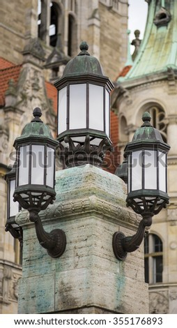 Beautiful decorative streetlight in Hannover