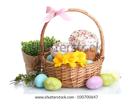 beautiful easter cakes colorful eggs in basket and flowers isolated