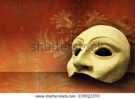Beautiful elegant composition of one classic theater mask