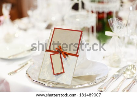 Beautiful elegant table set  for wedding or event party, indoors