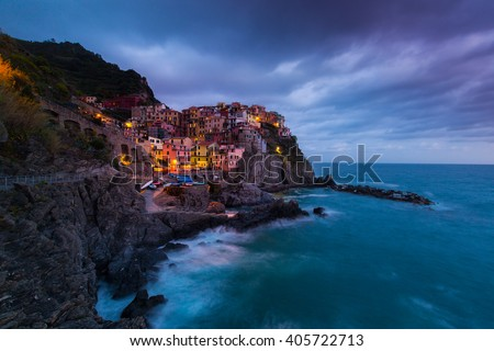 Beautiful evening scenery in Cinque Terre, Italy