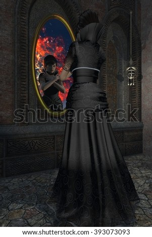 Beautiful evil stepmother in long black dress with high collar stares at her reflection in magic mirror