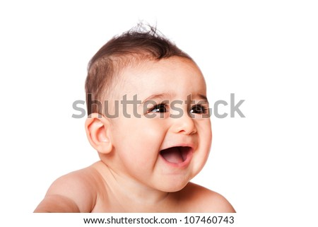 Beautiful expressive adorable happy cute laughing smiling baby infant face from side, isolated.