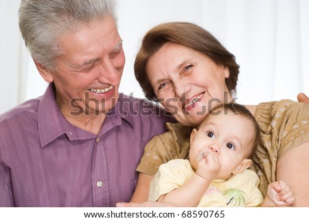 beautiful famaly of three on a white background