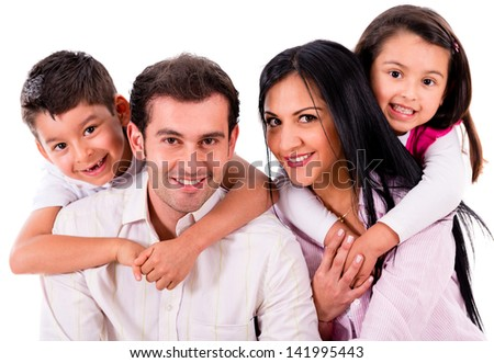 Beautiful family portrait smiling - isolated over a white background
