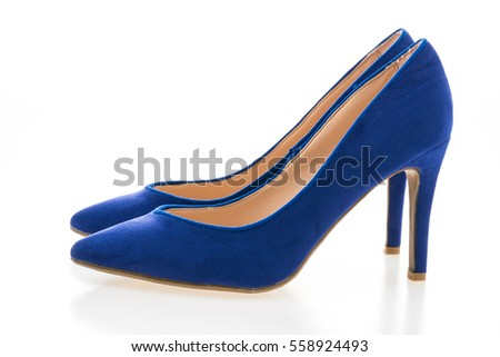 Beautiful fashion purple high heel footwear for women isolated on white background