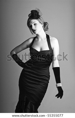 beautiful fashion shot of a 1930s styled woman in monochrome