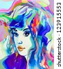 Beautiful fashion women with abstract hair. Creative hand painted fashion illustration. - stock photo