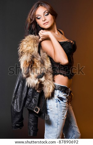 beautiful fashionable woman with fur
