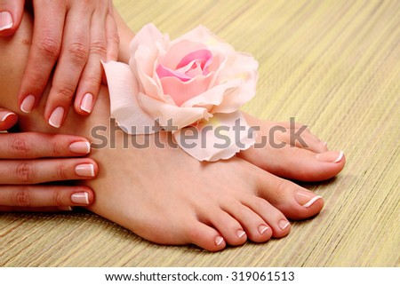 Female Feet Relaxing Aromatic Foot Bath Stock Photo ...